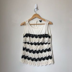 Ann Taylor Black and White Crochet Lace Tank stop